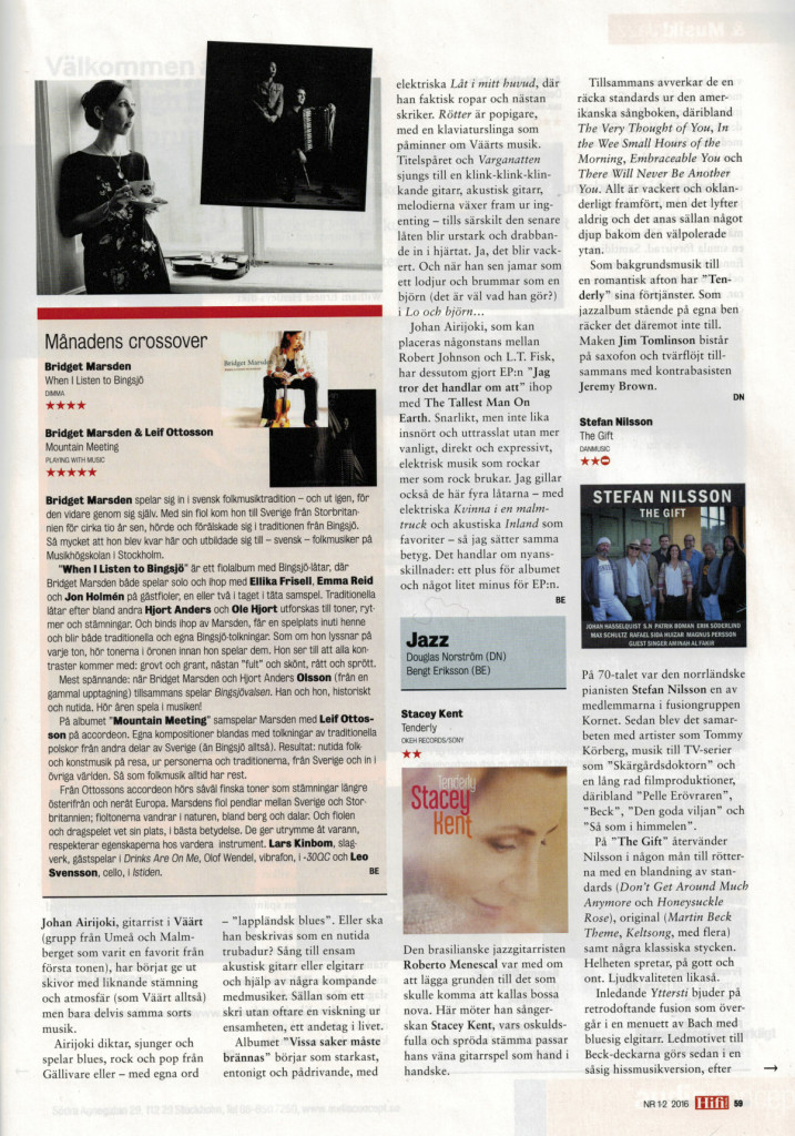 Recension When I Listen To Bingsjö & Mountain Meeting Hifi&Musik Feb 2016